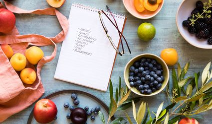 grocery shopping list and fruit