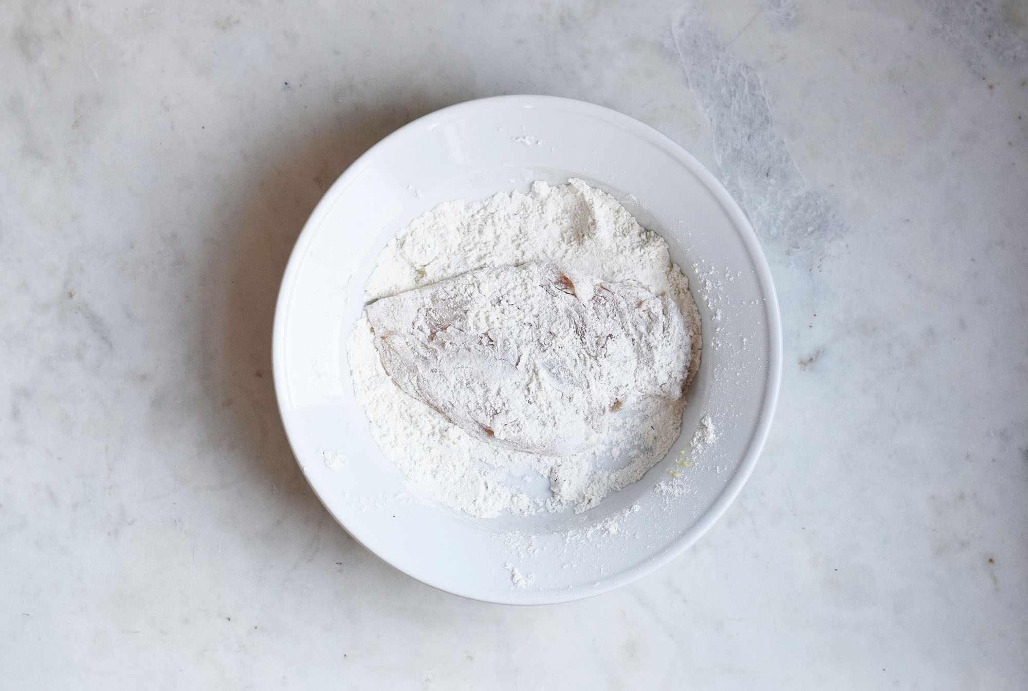 chicken dipped in flour mixture