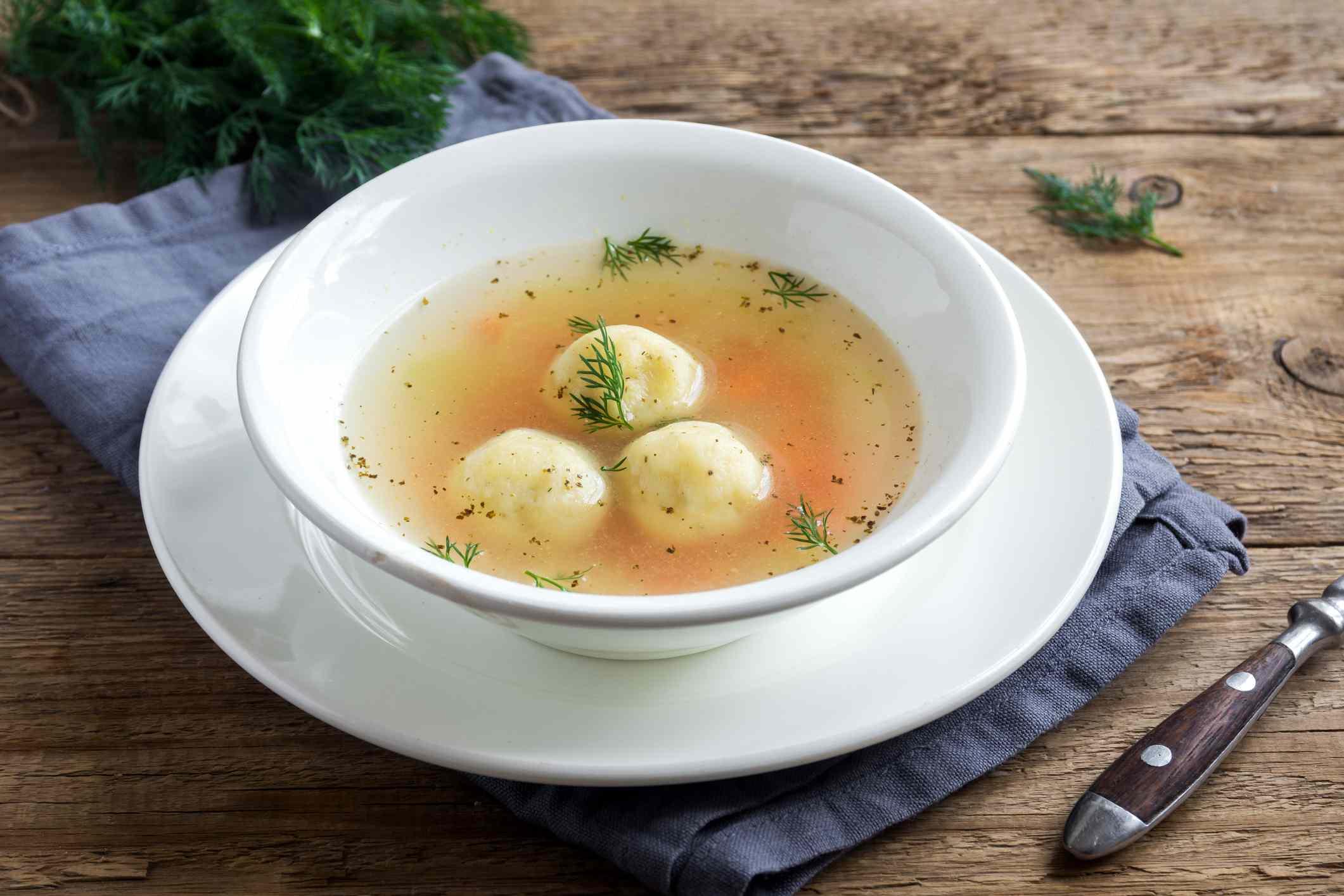 No-chicken matzo ball soup in a bowl