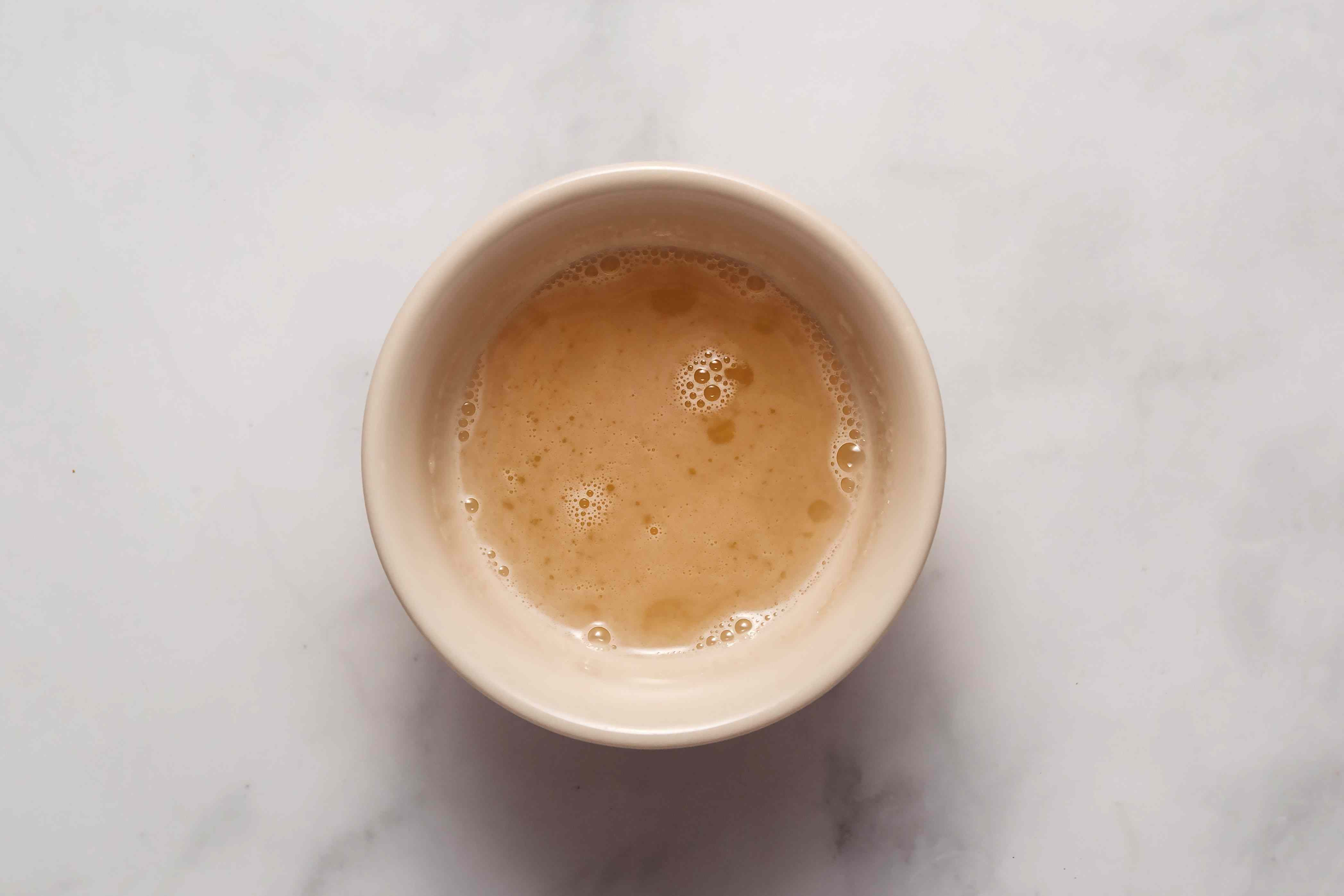 hot gelatin and water mixture