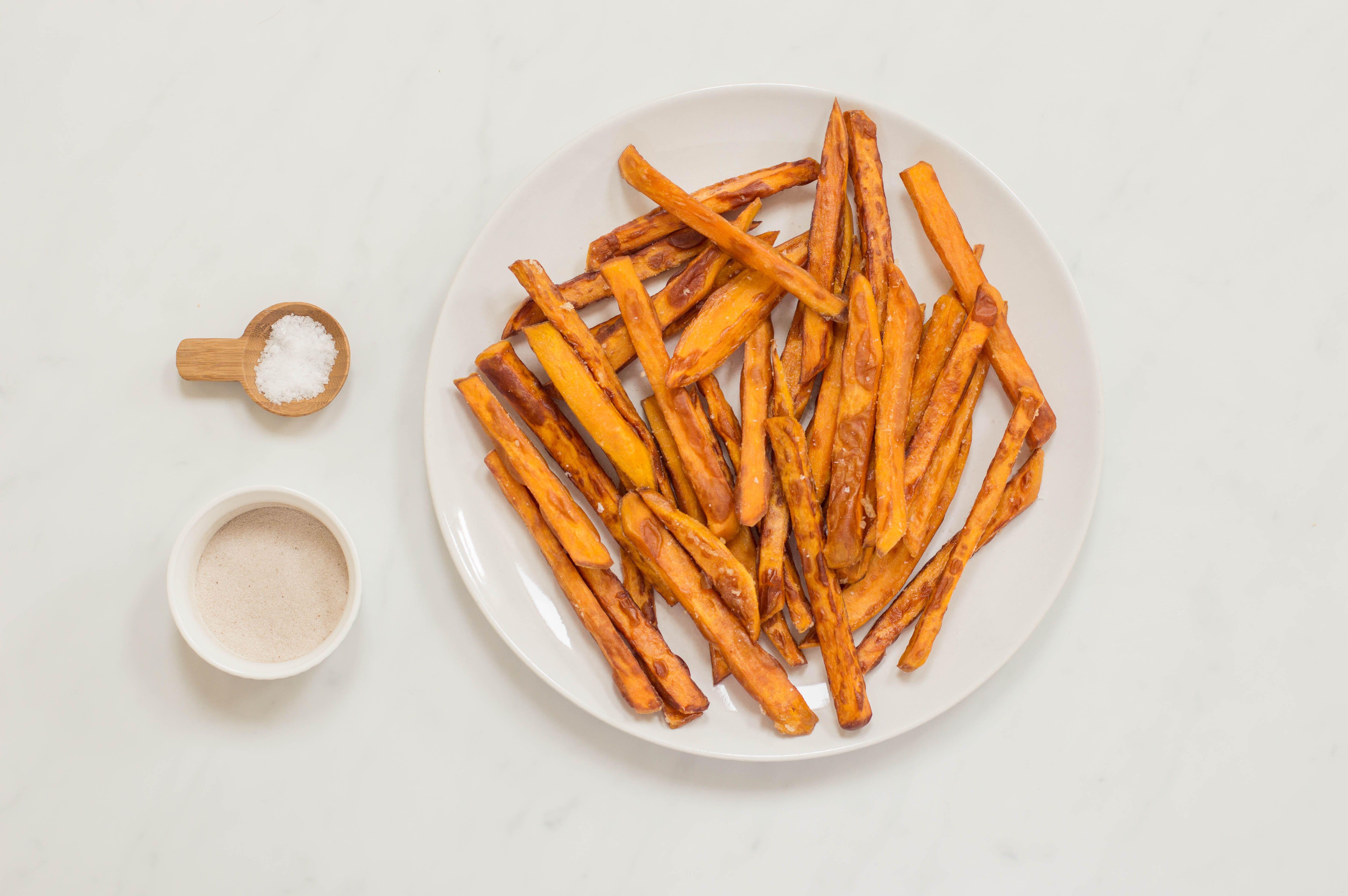 Sprinkle fries with seasonings