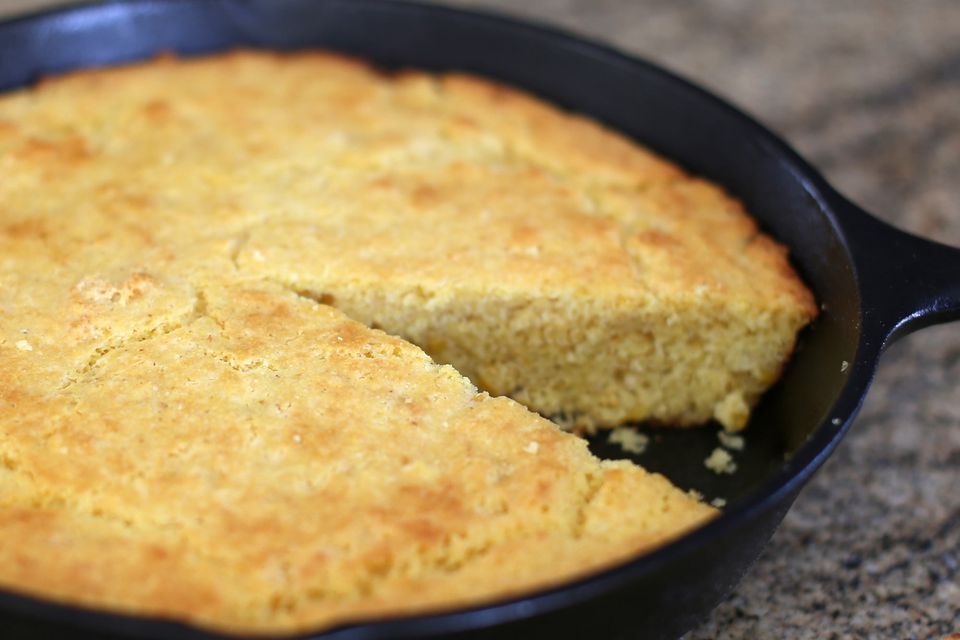 A pan of southern cornbread