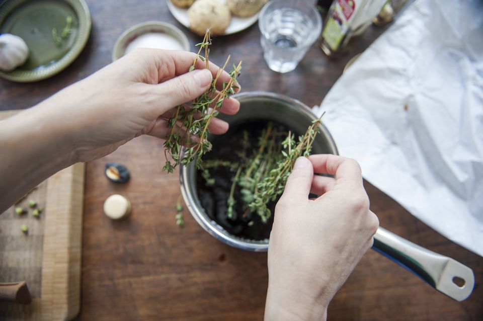 Cooking with thyme herb