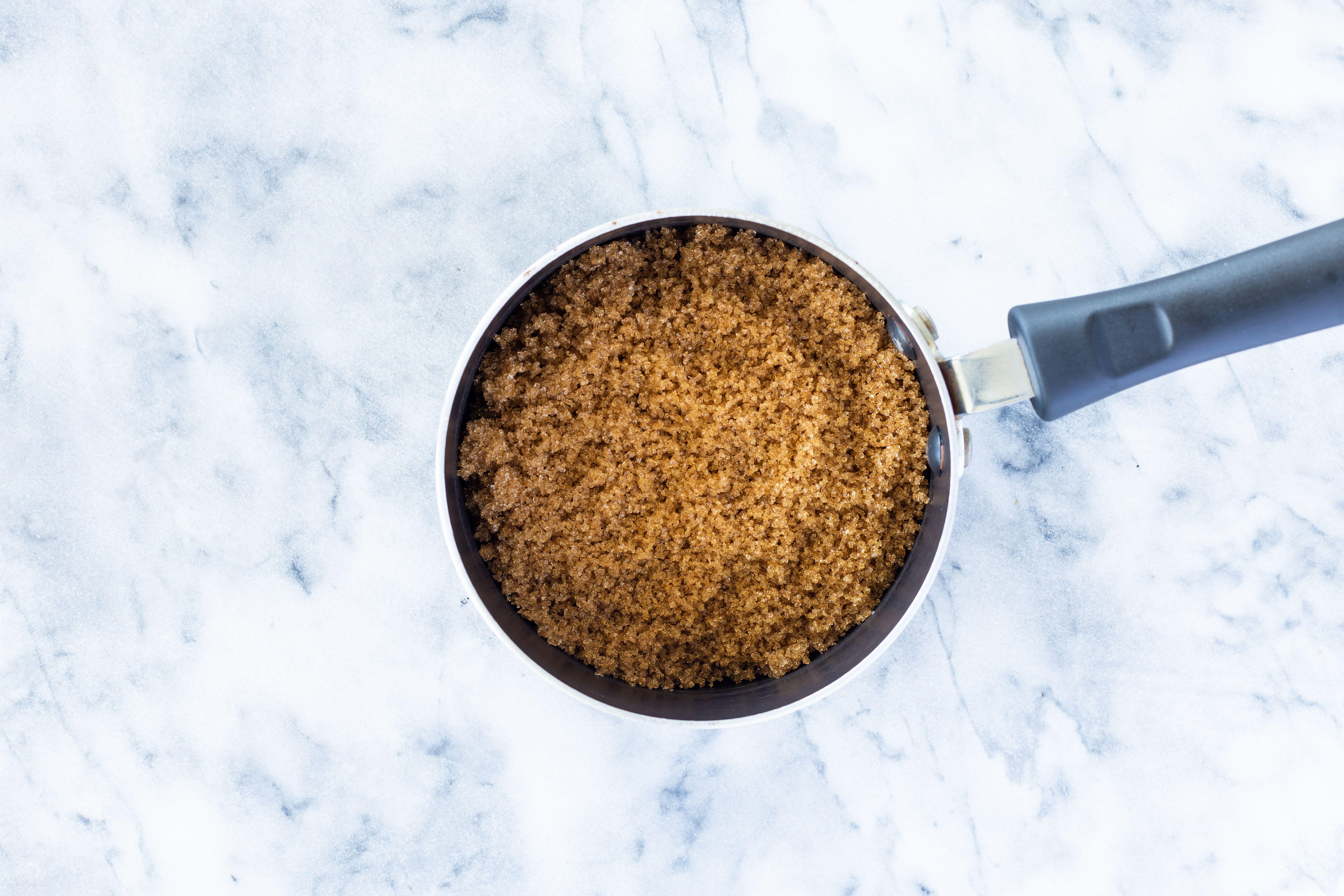 Brown sugar in a saucepan