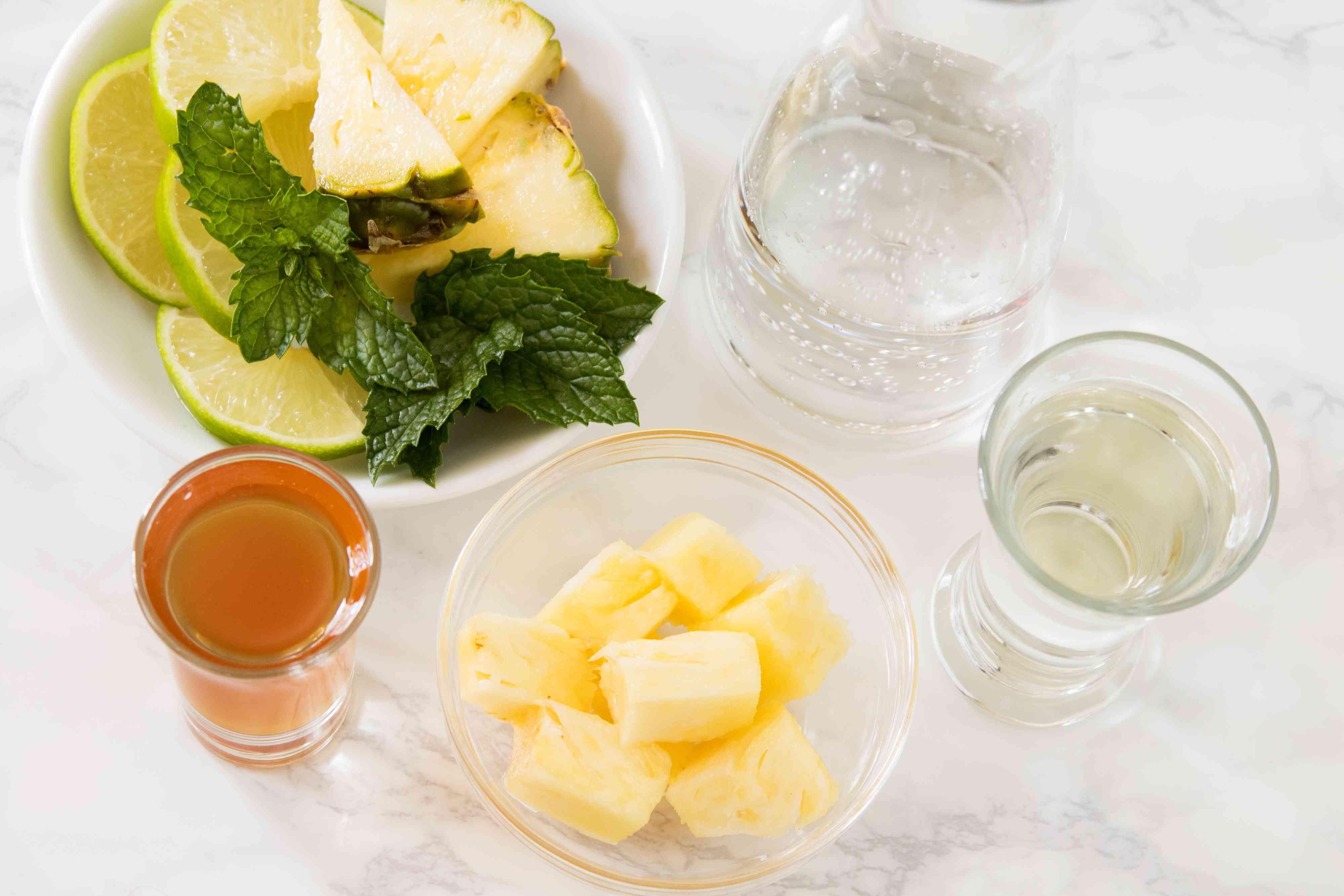 Ingredients for a Pineapple Mojito