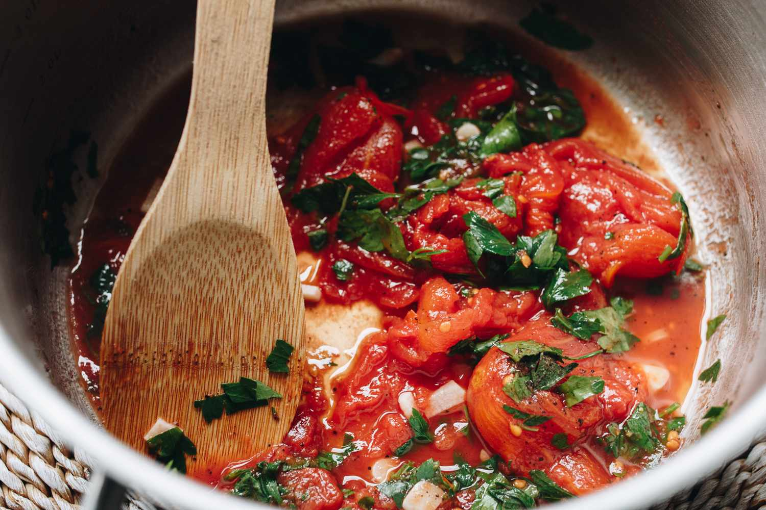 Cooking tomatoes for ratatouille