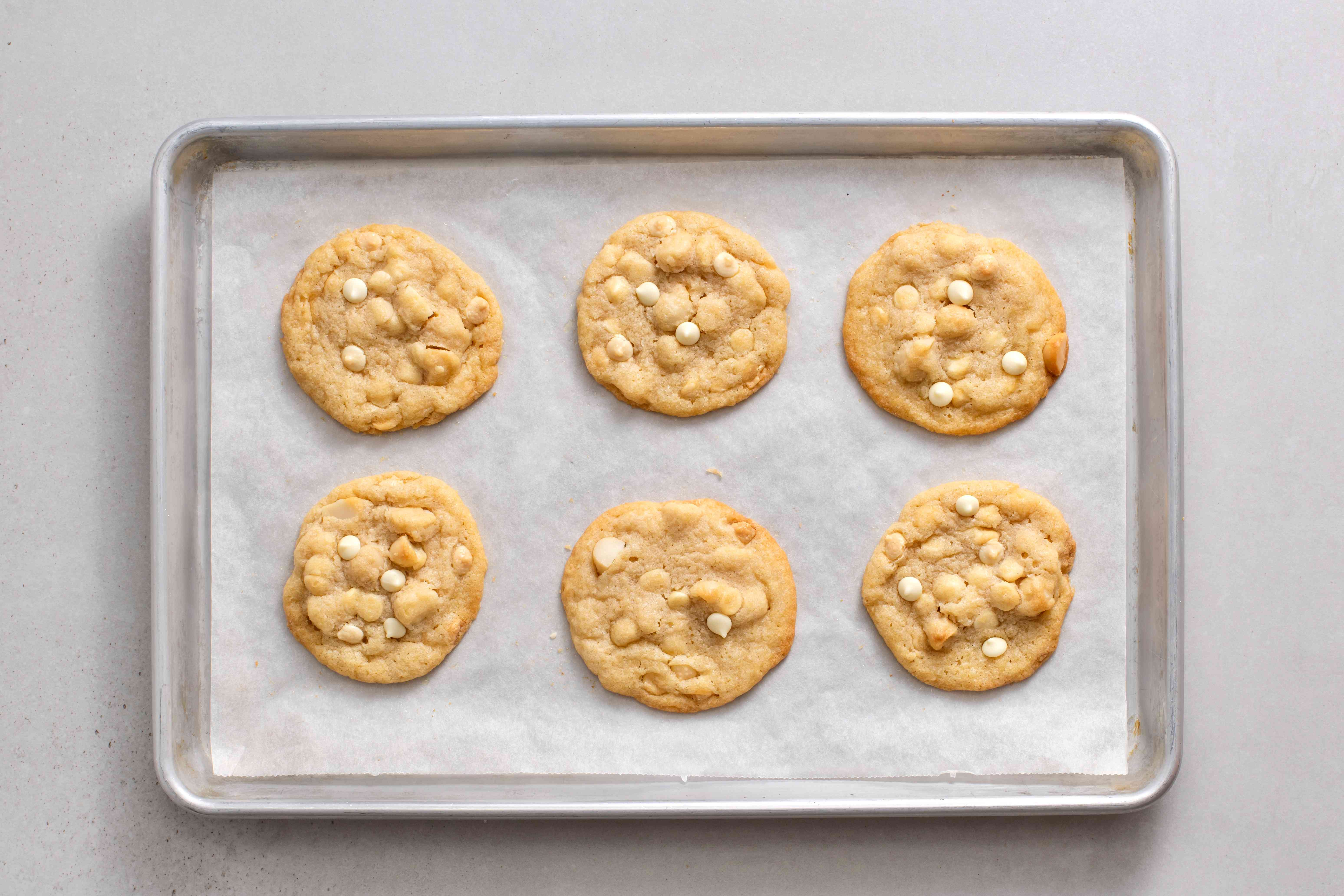 White Chocolate Macadamia Nut Cookies on a baking sheet