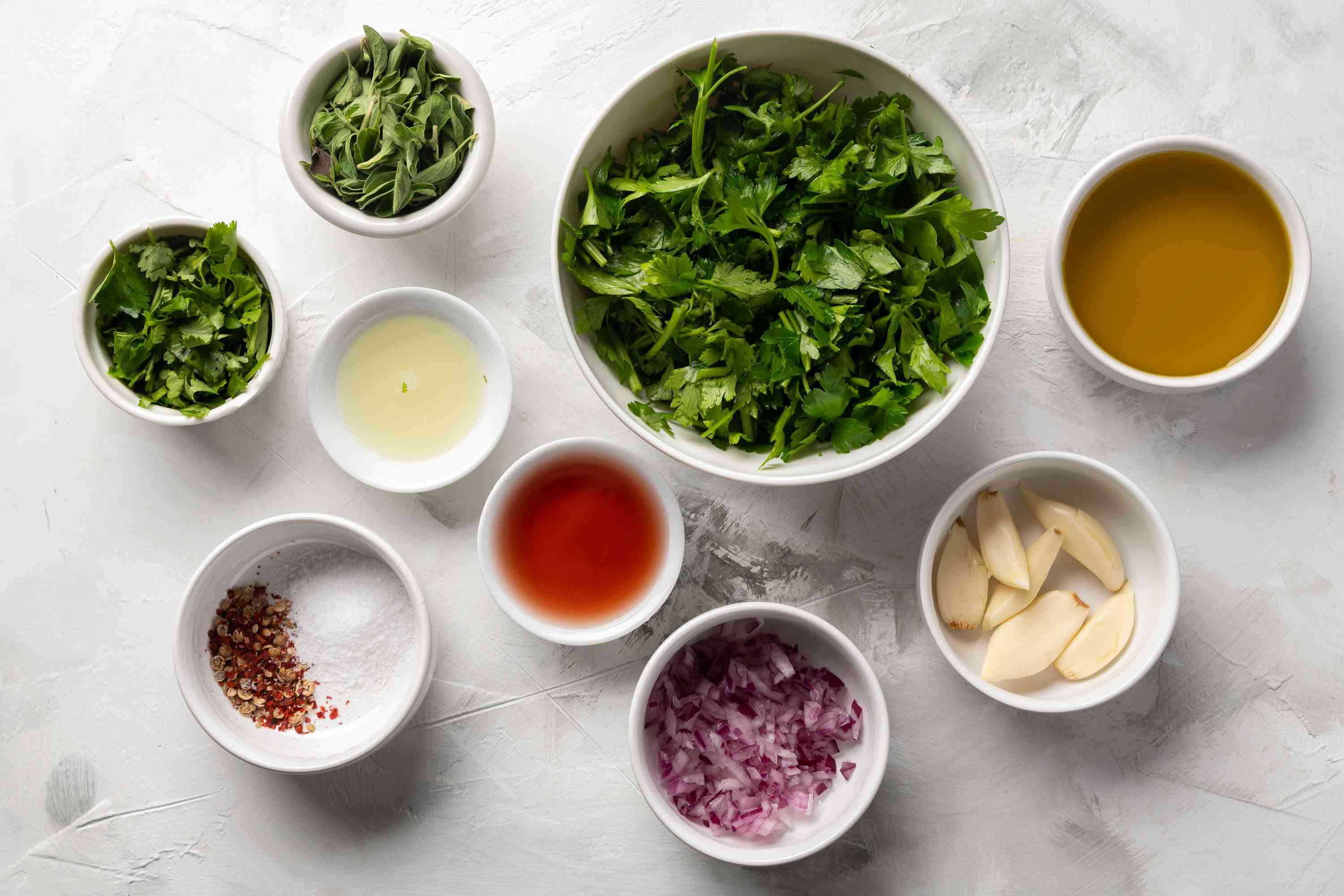 Argentinian-style chimichurri sauce ingredients