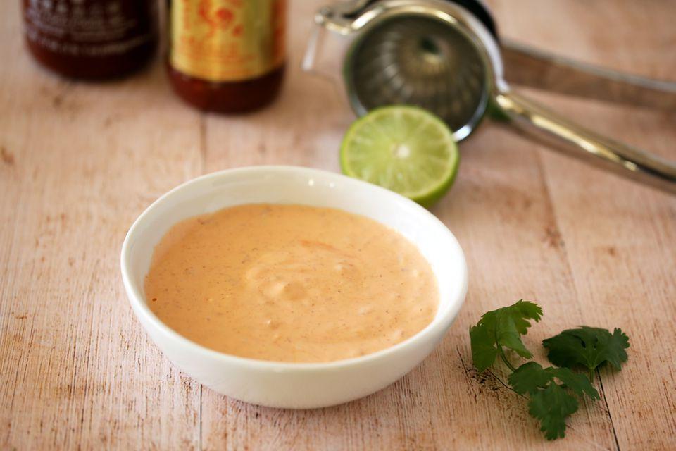 Spicy chili mayonnaise with Sriracha and sambal.