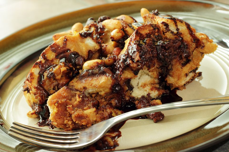 peanut butter and chocolate bread pudding