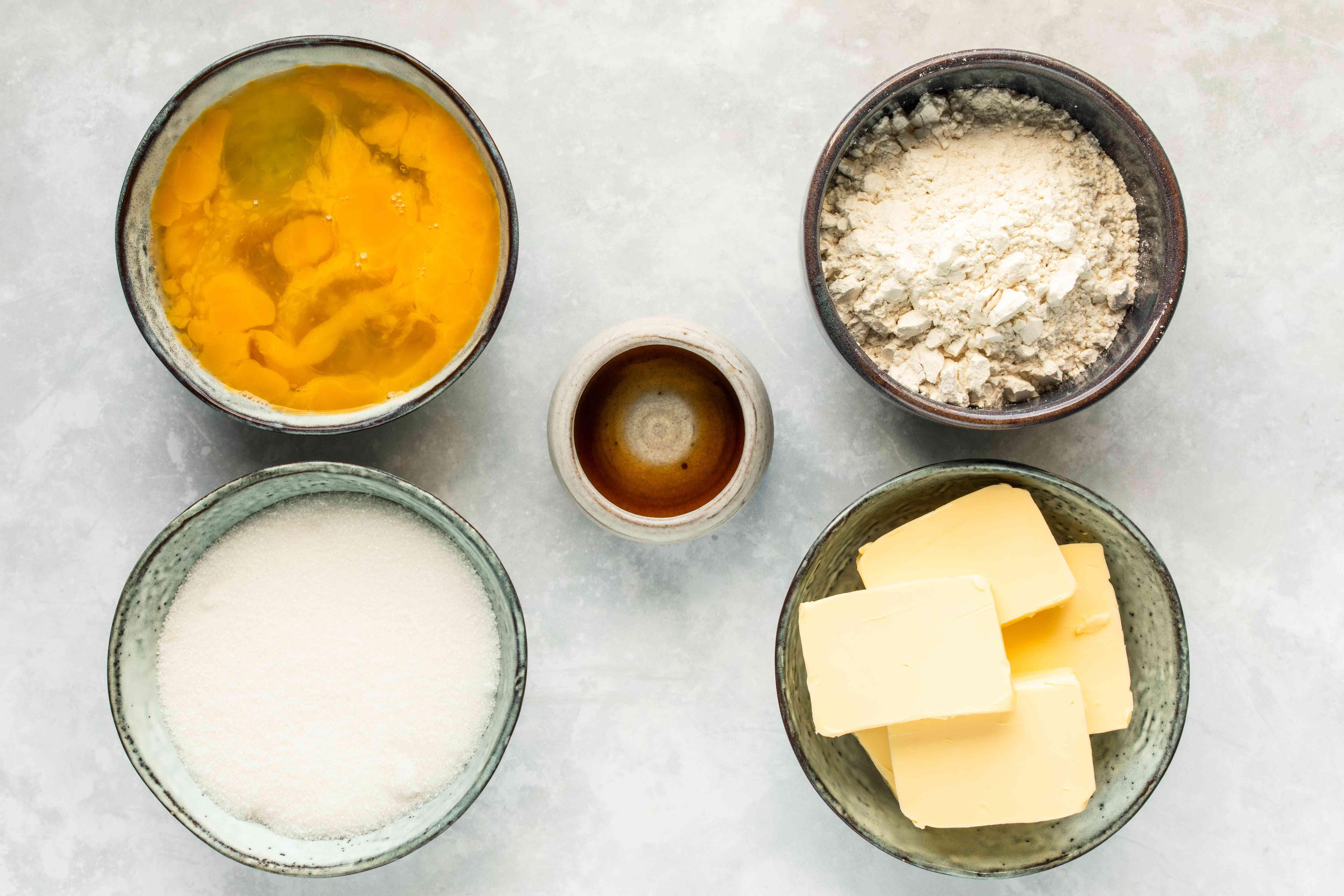 Ingredients for dobosh torte cake