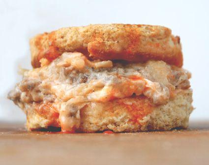 Venison Sausage Gravy and Biscuit Sandwich
