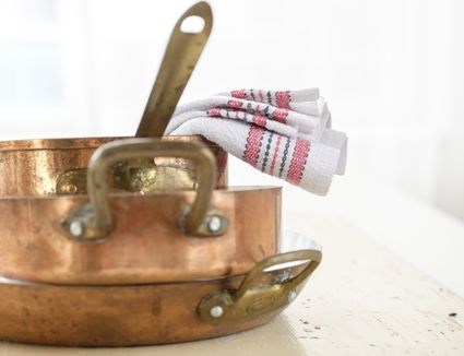 Studio shot of copper pans