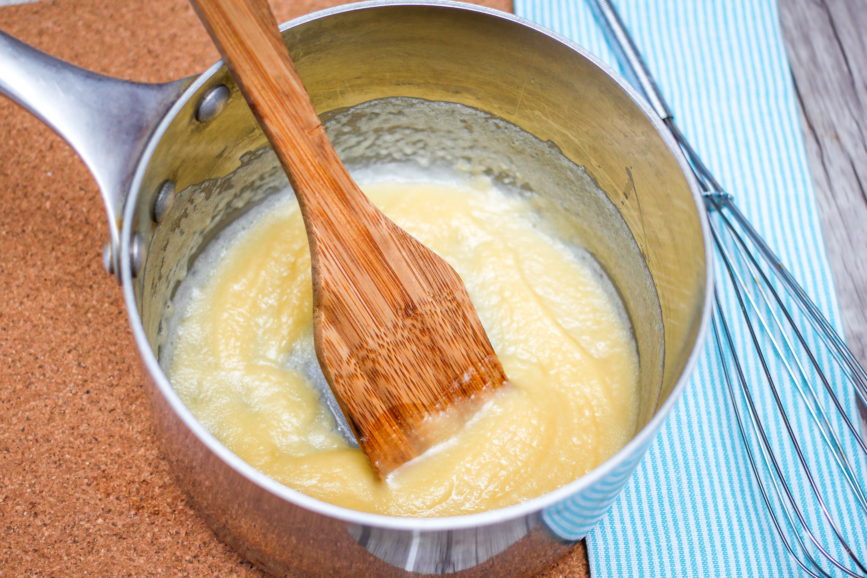 Flour and melted butter in pot