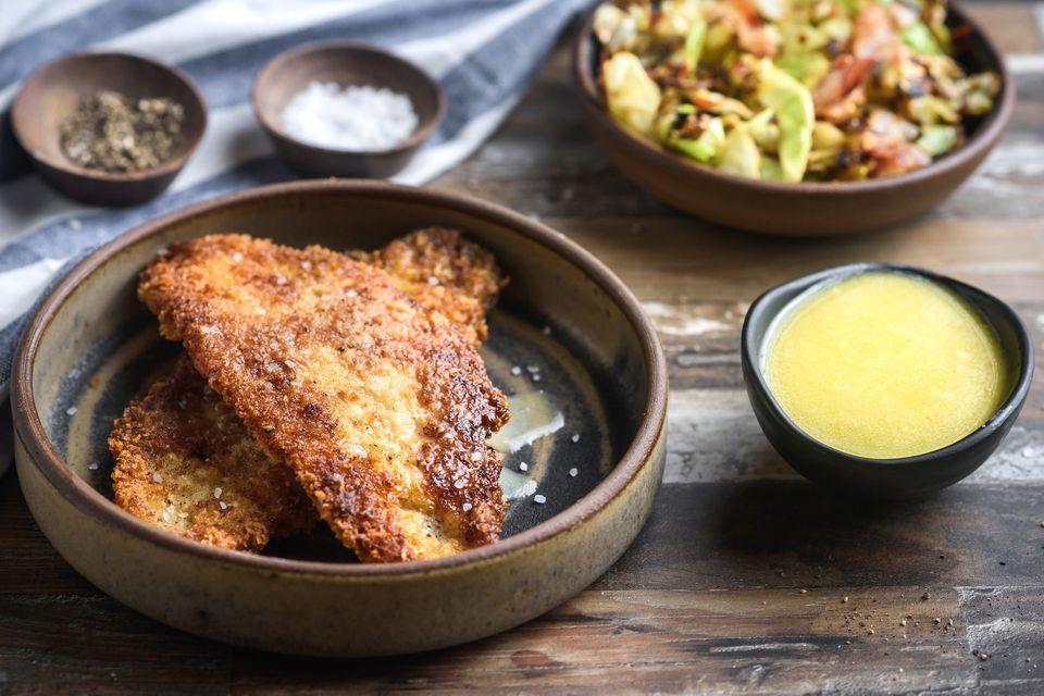Crispy lemon codfish