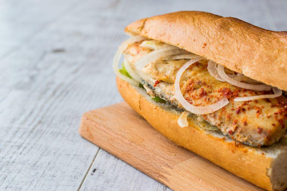 Turkish Balik Ekmek / Fish sandwich.