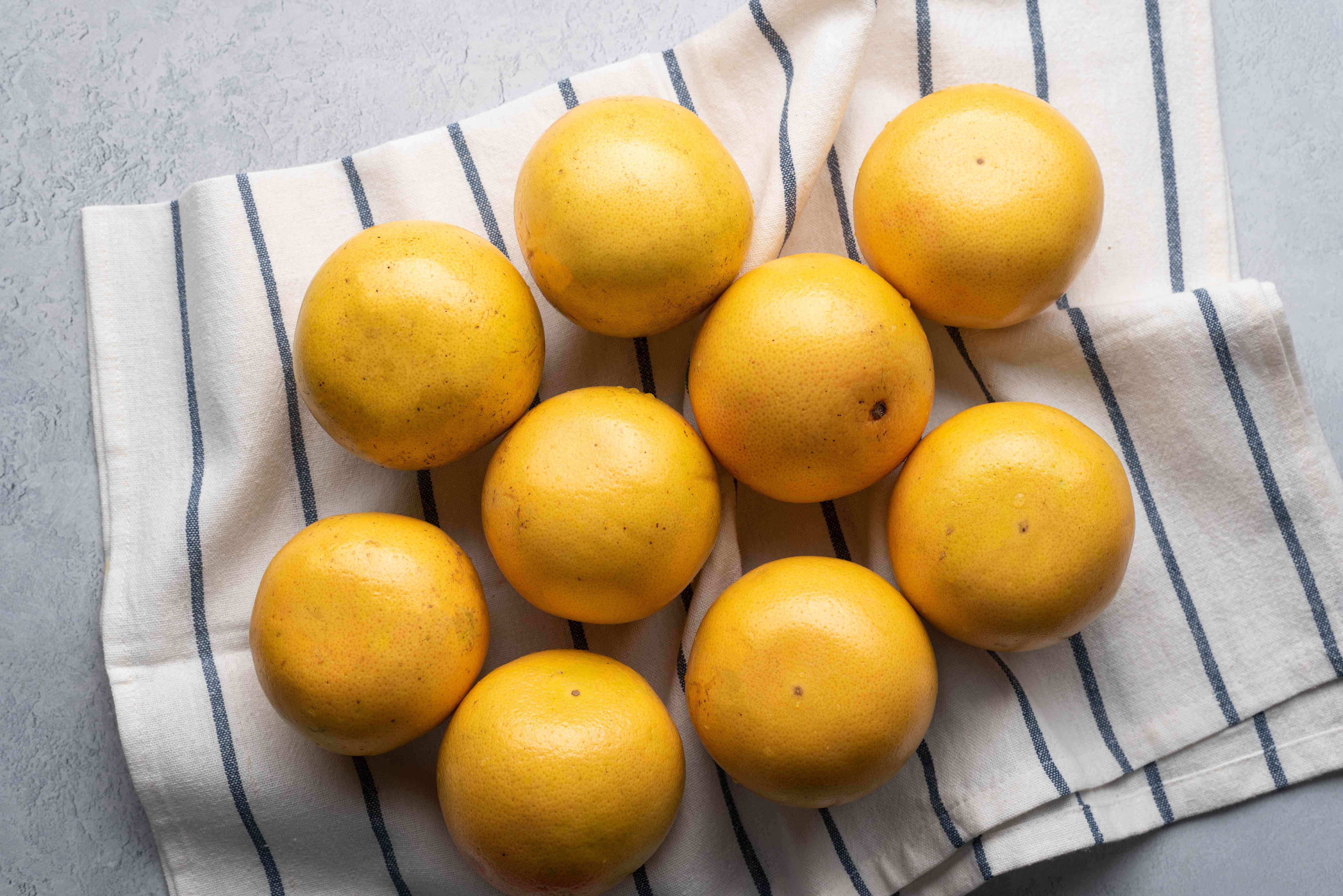 washed and dried grapefruits