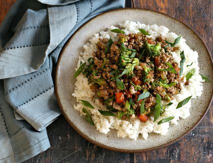 Ground turkey stir-fry over rice