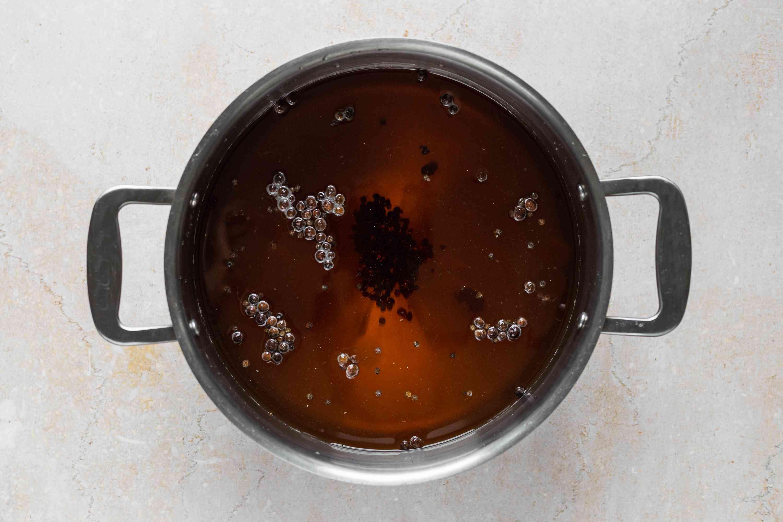 Combine water, salt, peppercorns in a pot