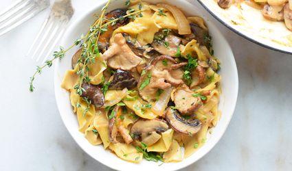 mushroom stroganoff in a bowl