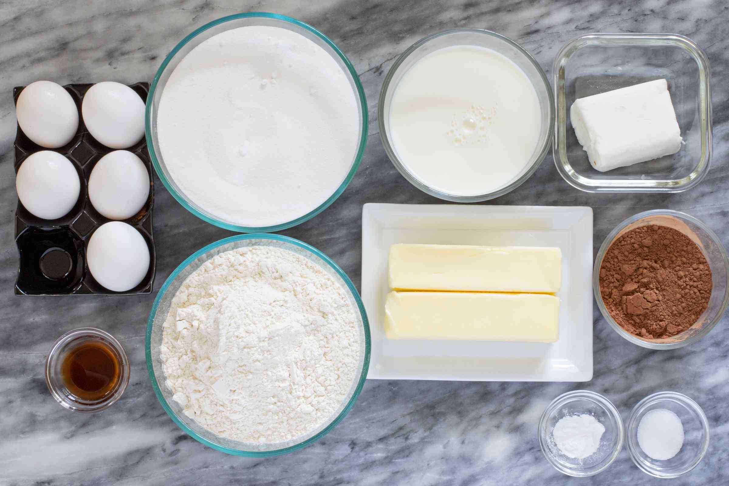 Ingredients for chocolate pound cake.