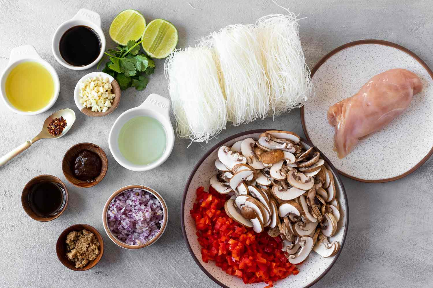Thai Glass Noodle Stir-Fry With Chicken and Vegetables ingredients
