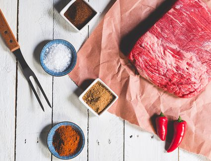 Raw brisket and ingredients for brown sugar rub