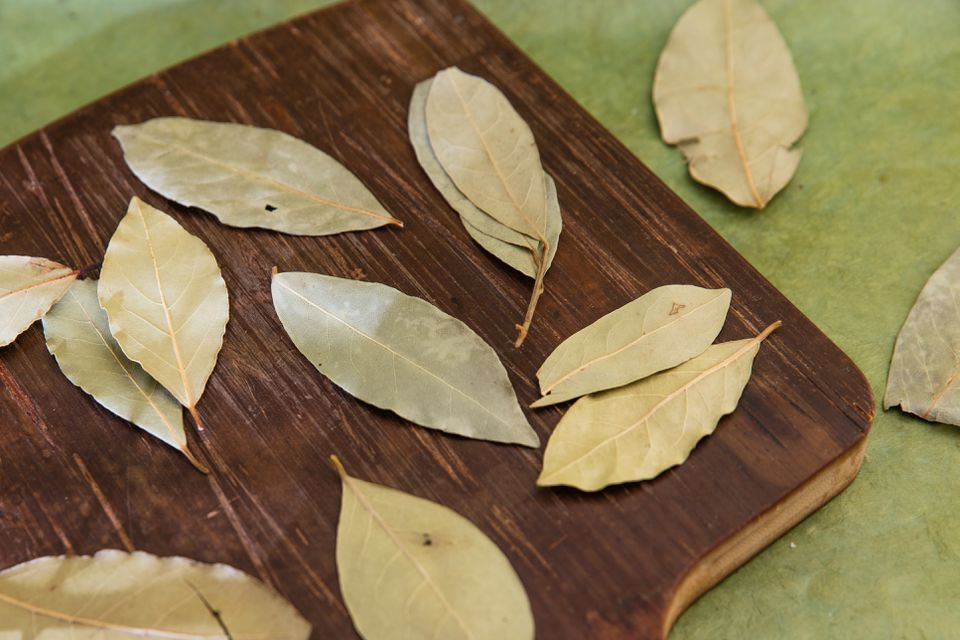 Dried bay leaves.