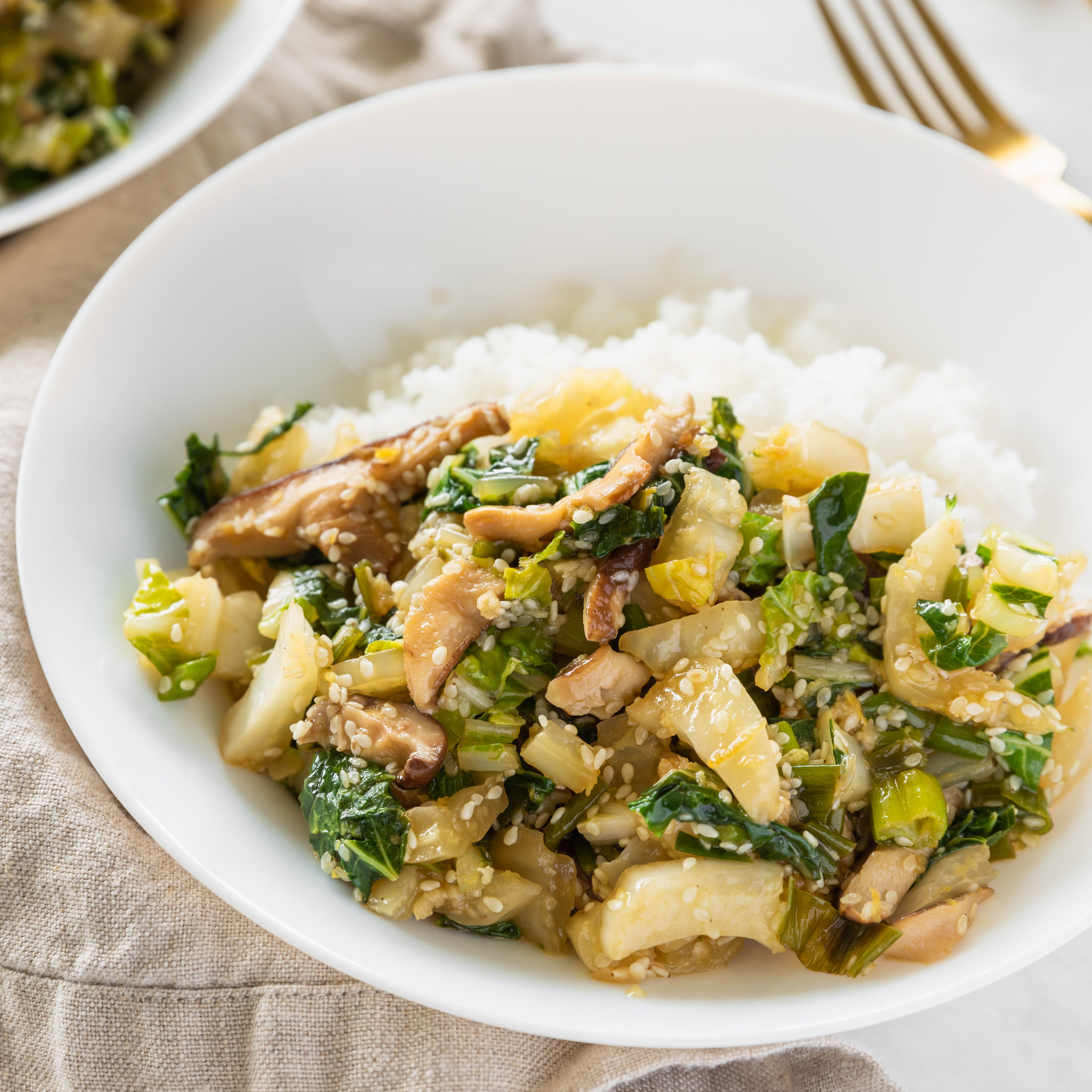 Vegetarian Bok Choy And Mushroom Stir Fry Recipe