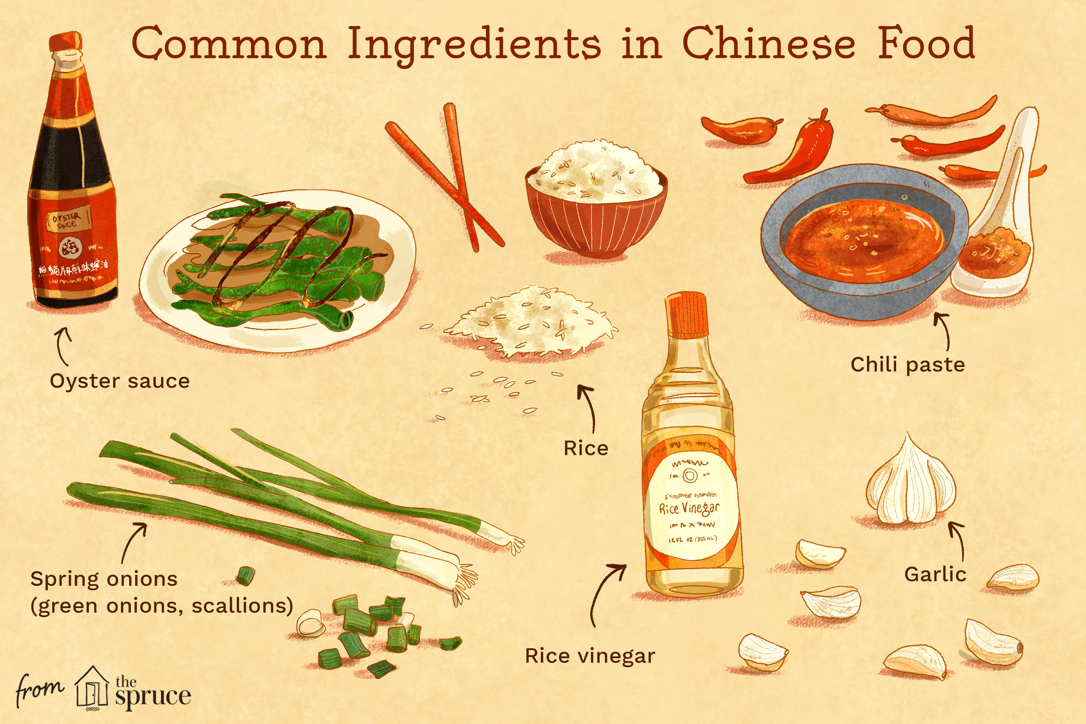 Illustration showing common ingredients in Chinese cooking