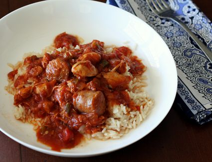 Slow Cooker Creole Chicken With Sausage in rice on a plate