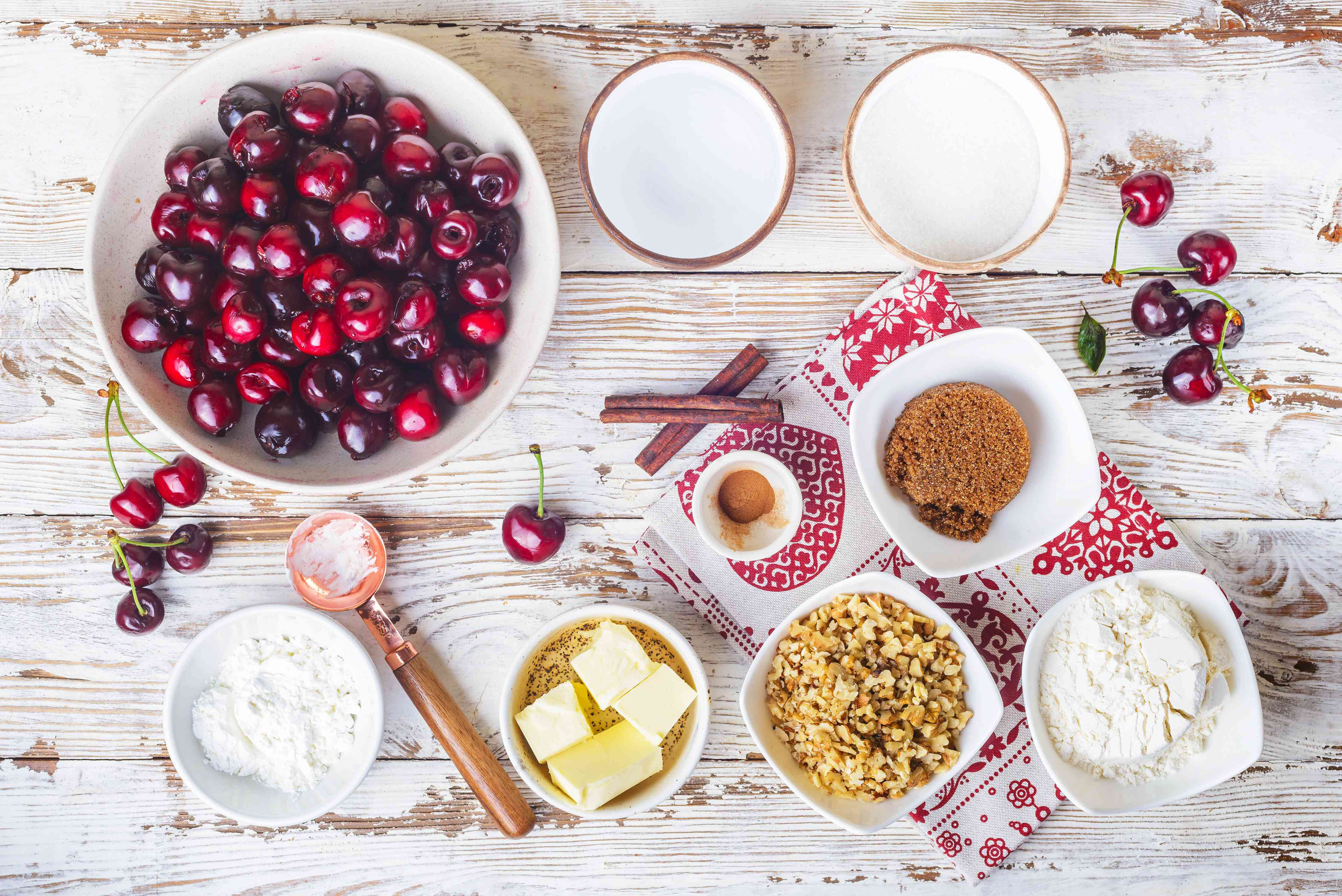 Ingredients for cherry crumble