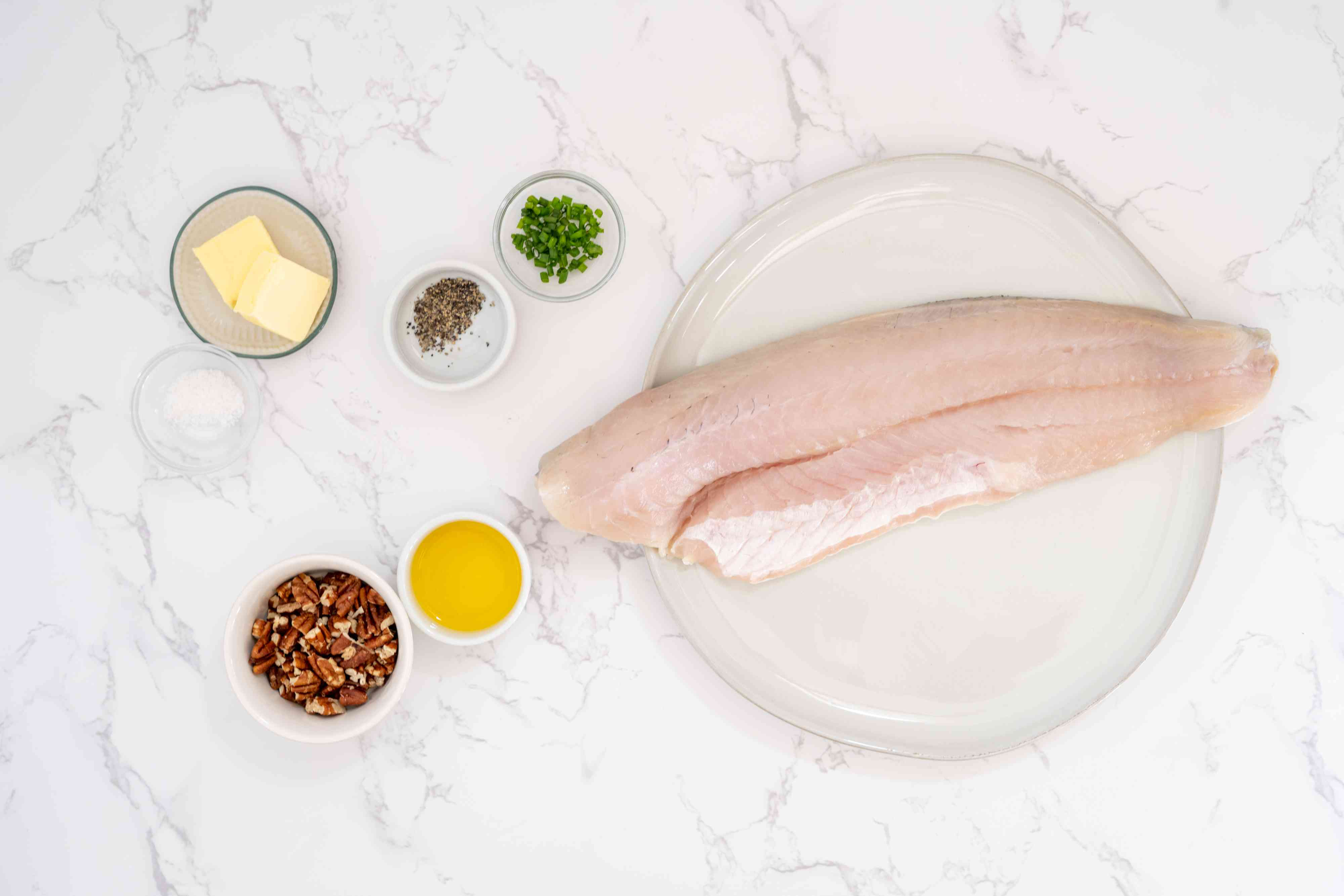 Grilled walleye with citrus butter ingredients