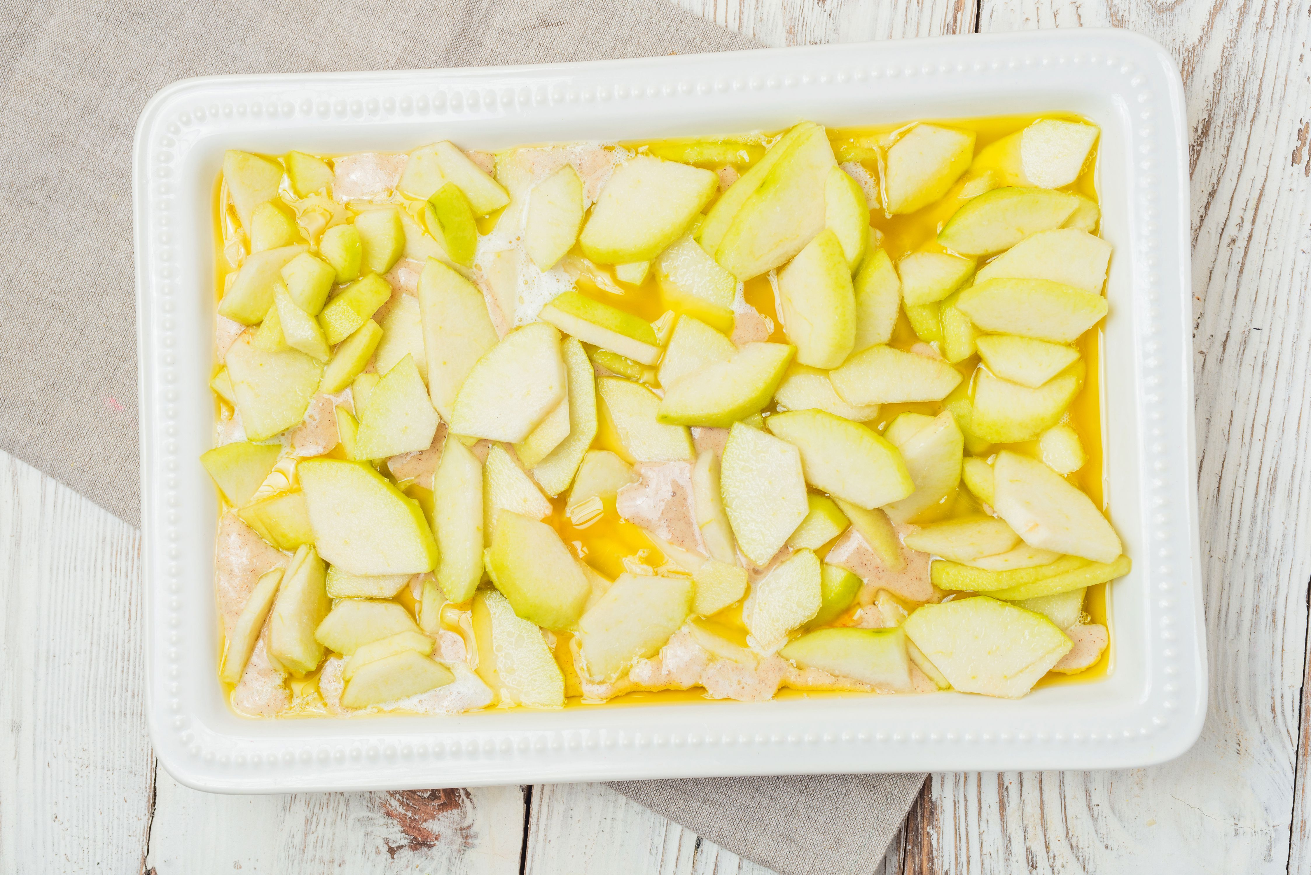 Pear cobbler in the dish before baking