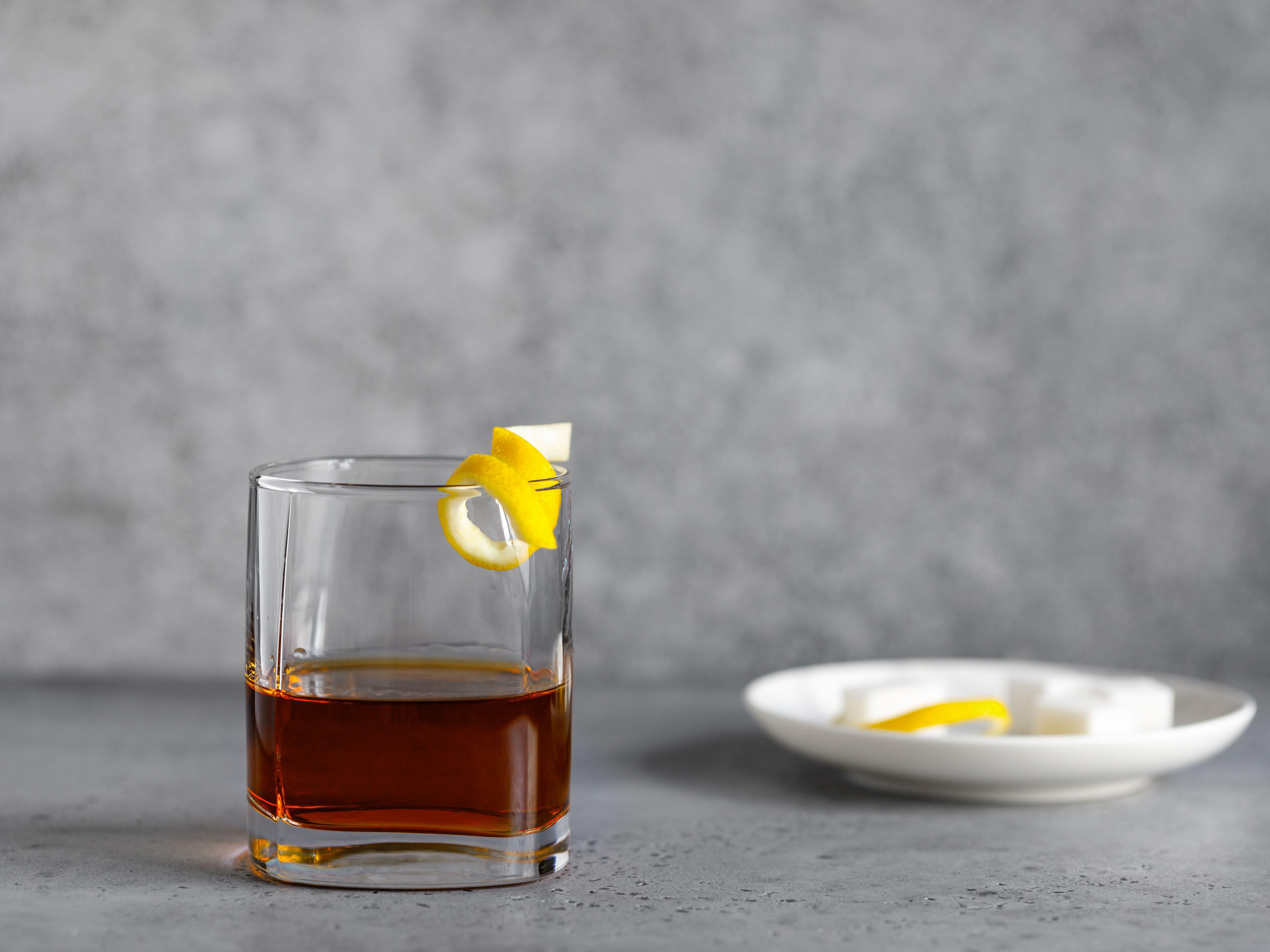 Garnish the Sazerac with a lemon twist