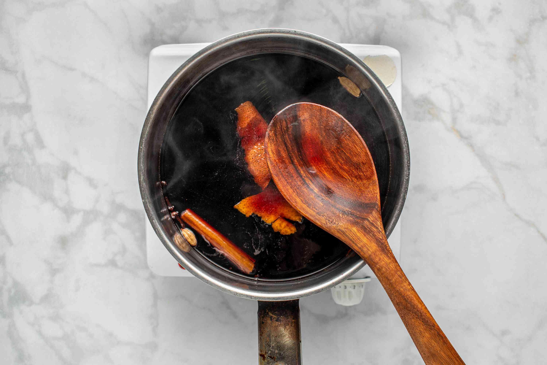 wine mixture cooking in a saucepan