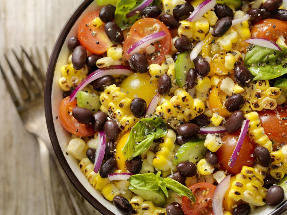 A bowl of black bean salad