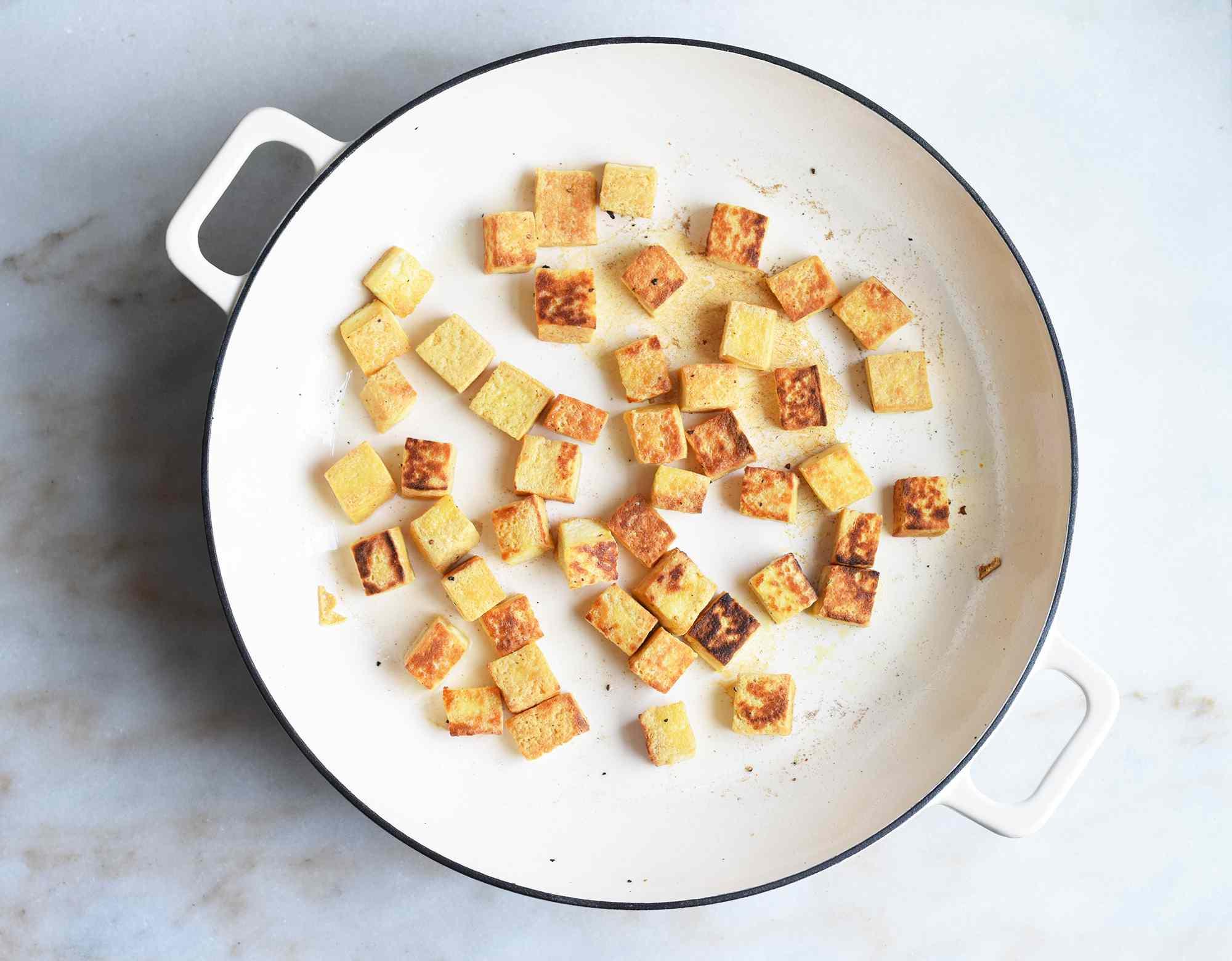 tofu browned in a saute pan