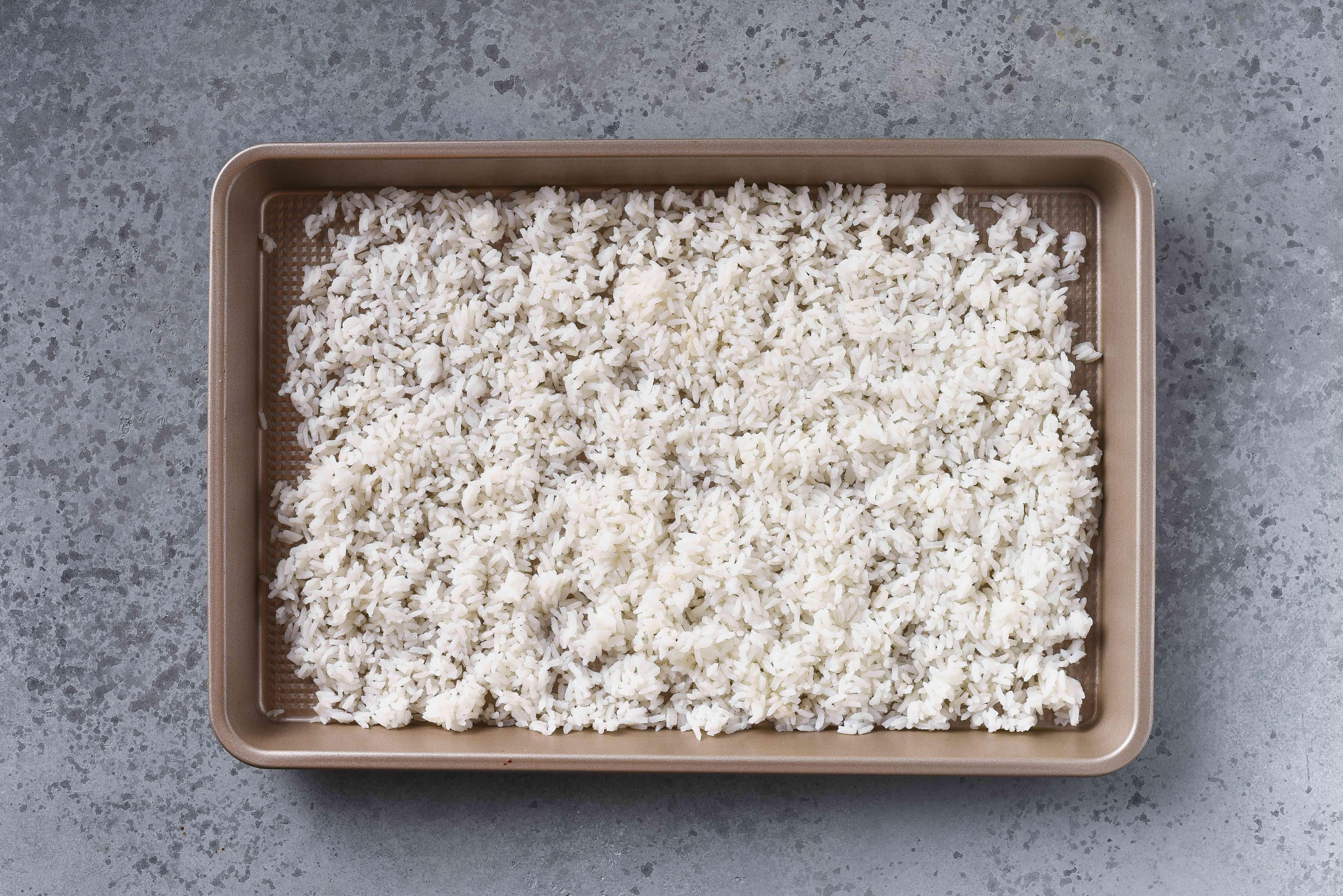 rice on a baking sheet