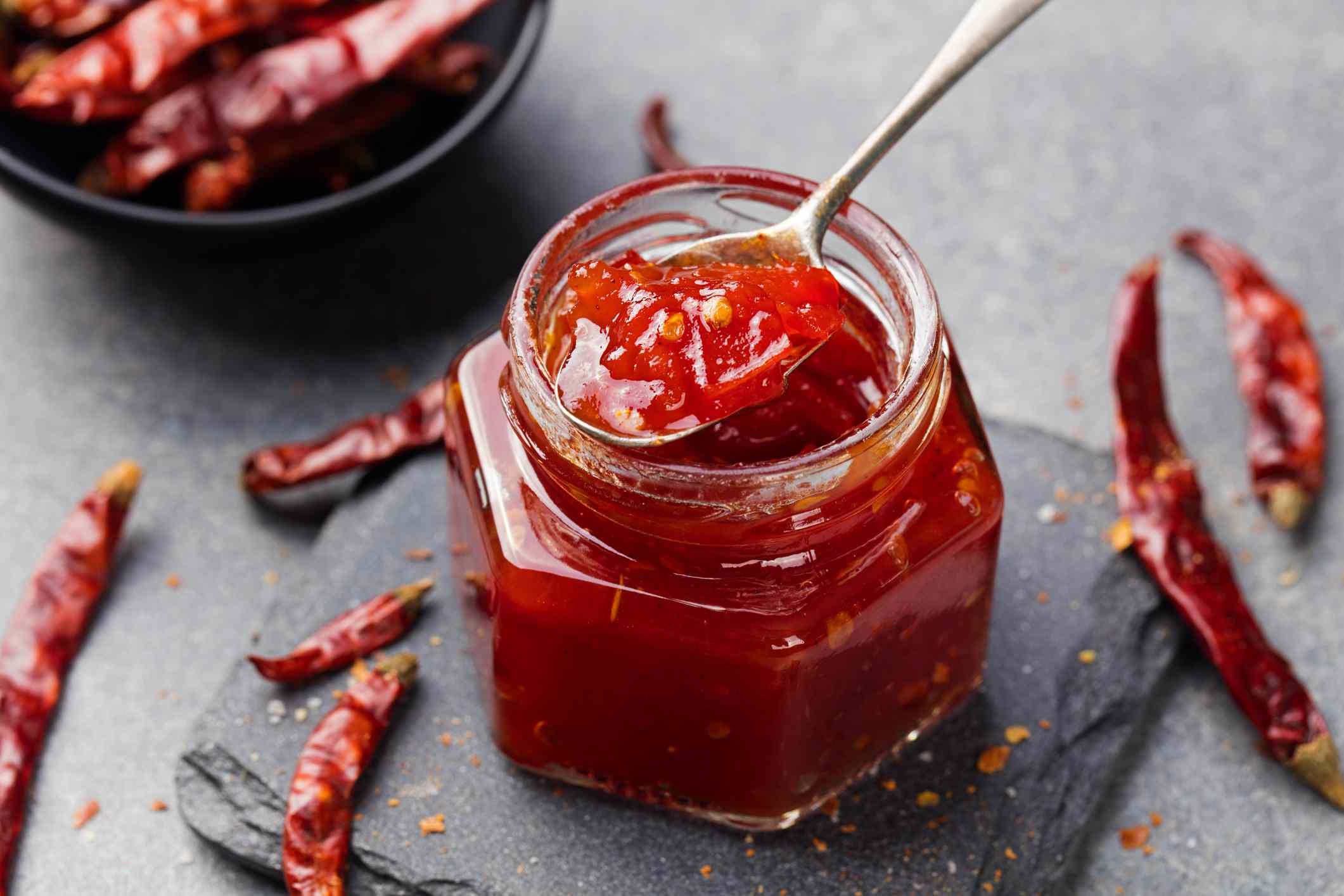 Tomato and chili sauce, jam, confiture in a glass jar