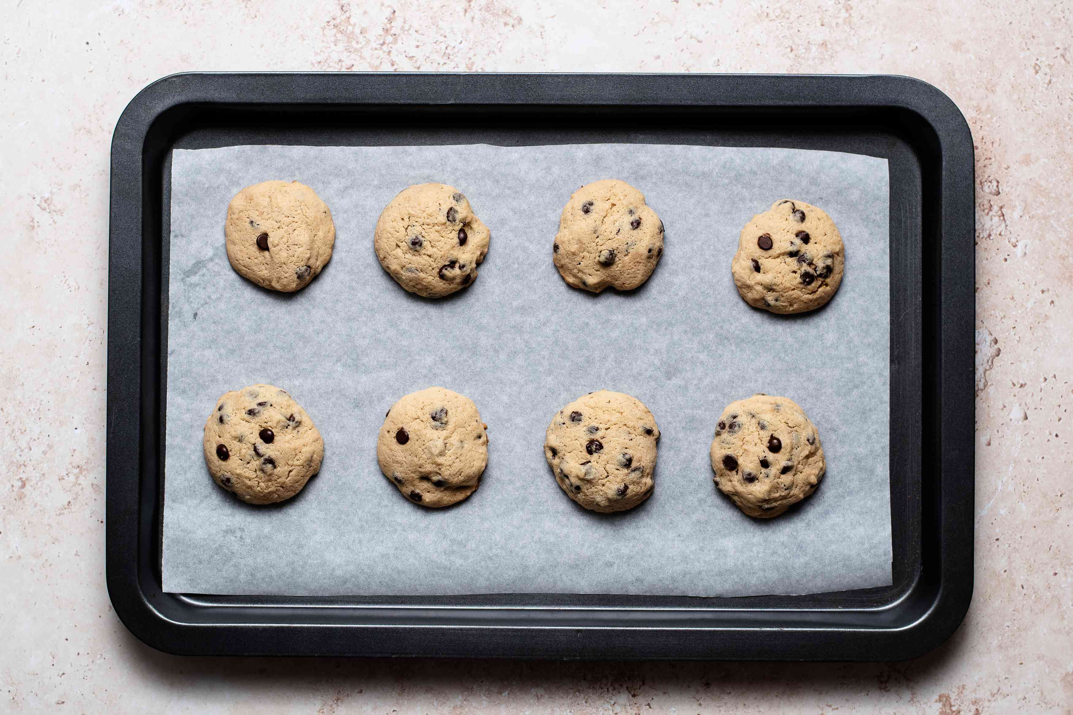 Cream Cheese Chocolate Chip Cookies on a baking sheet