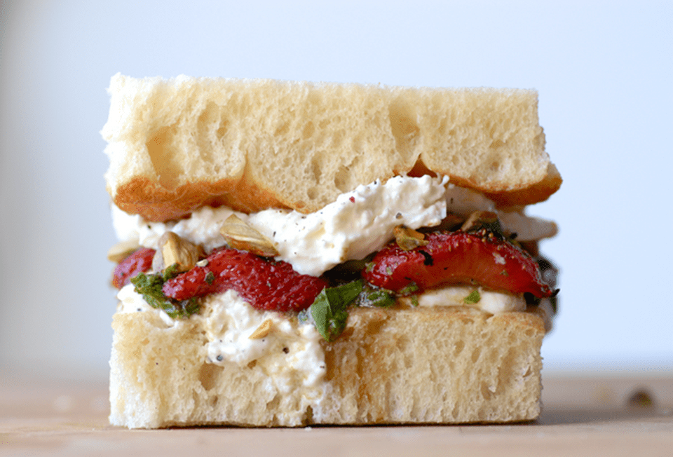 Grilled Balsamic Strawberries, Burrata + Mint Pistou Grilled Cheese