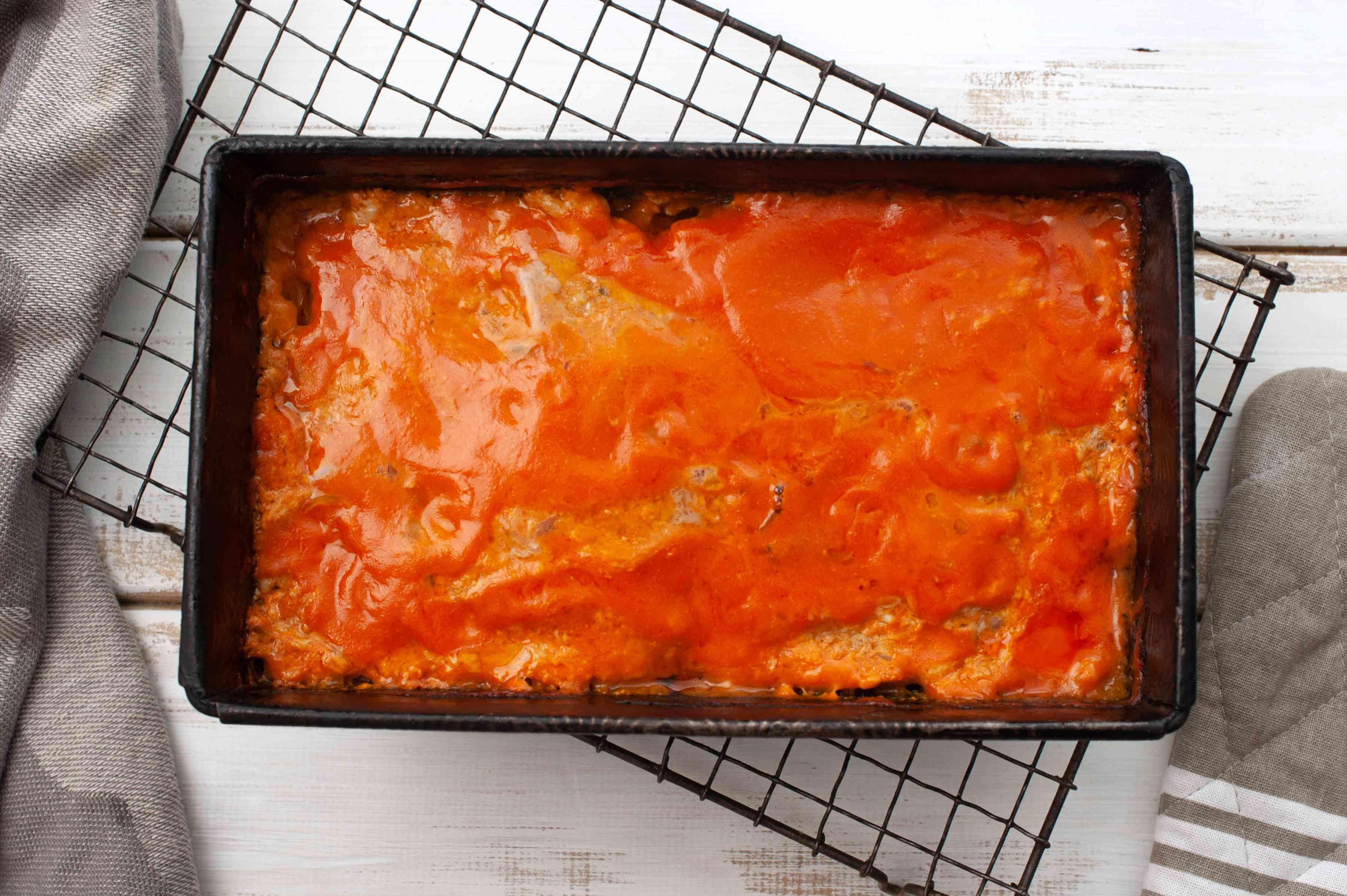 Sauce on meatloaf