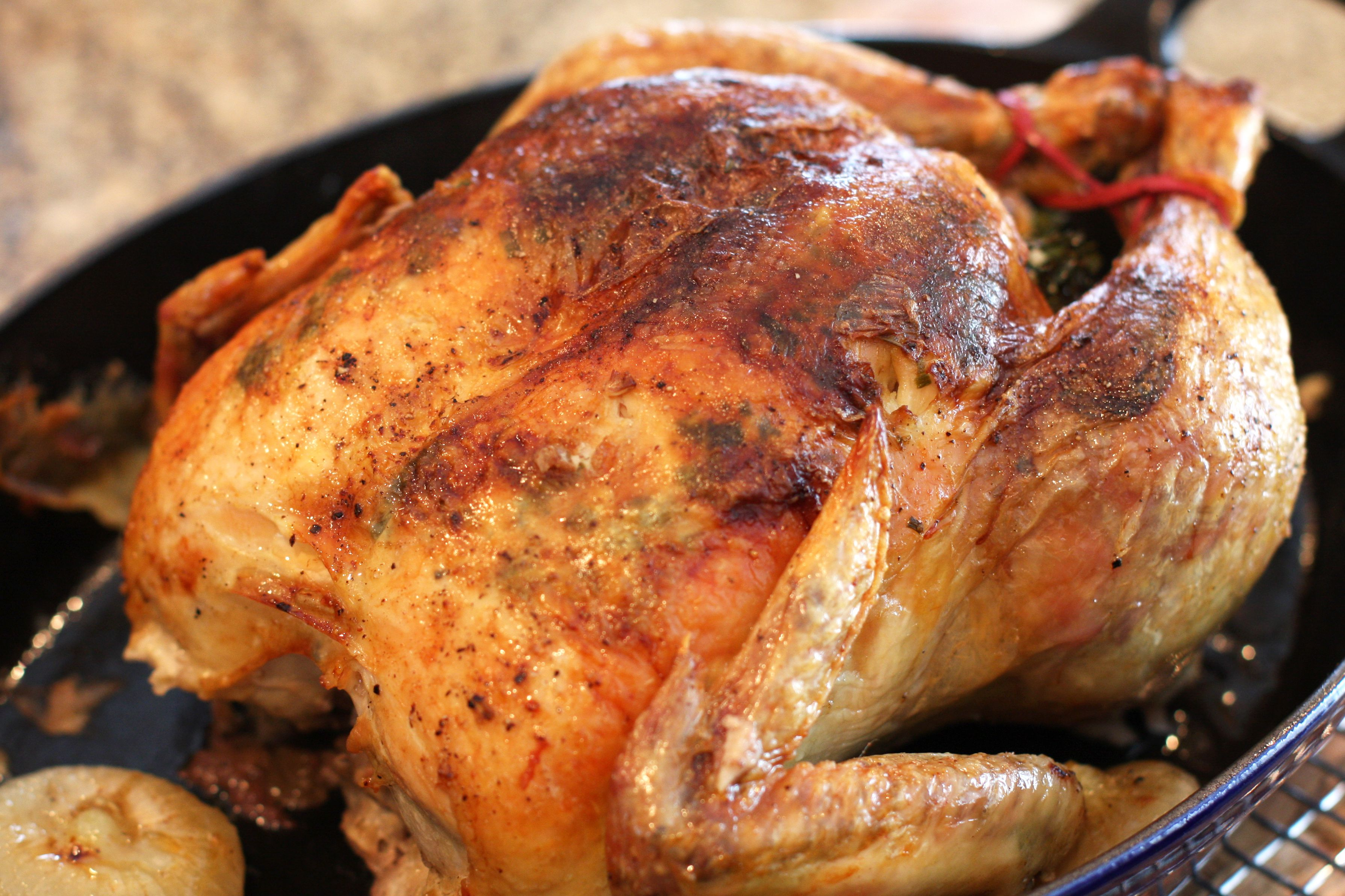 Whole Stuffed Chicken With Pan Gravy Recipe