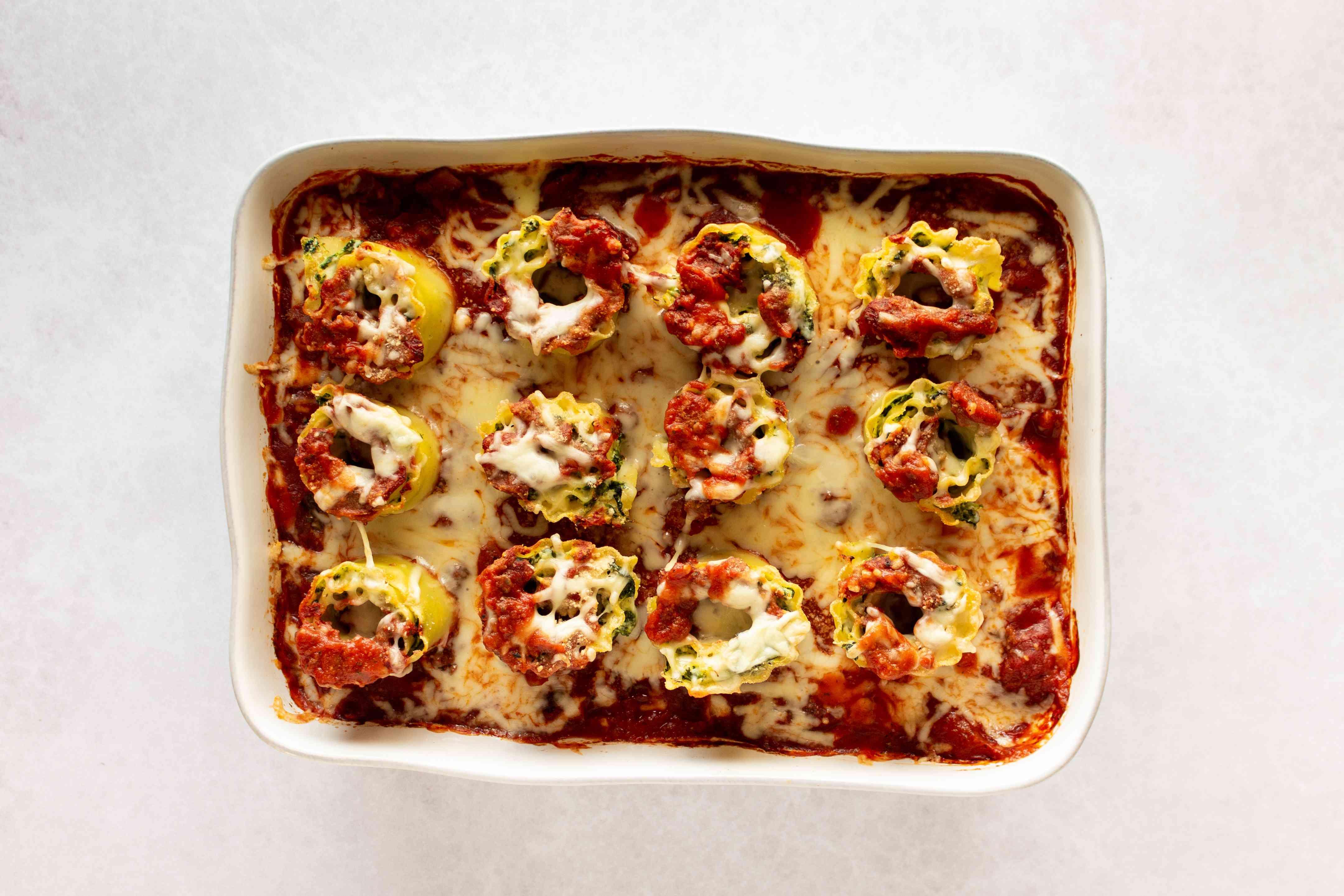Spinach Lasagna Roll-Ups in baking dish