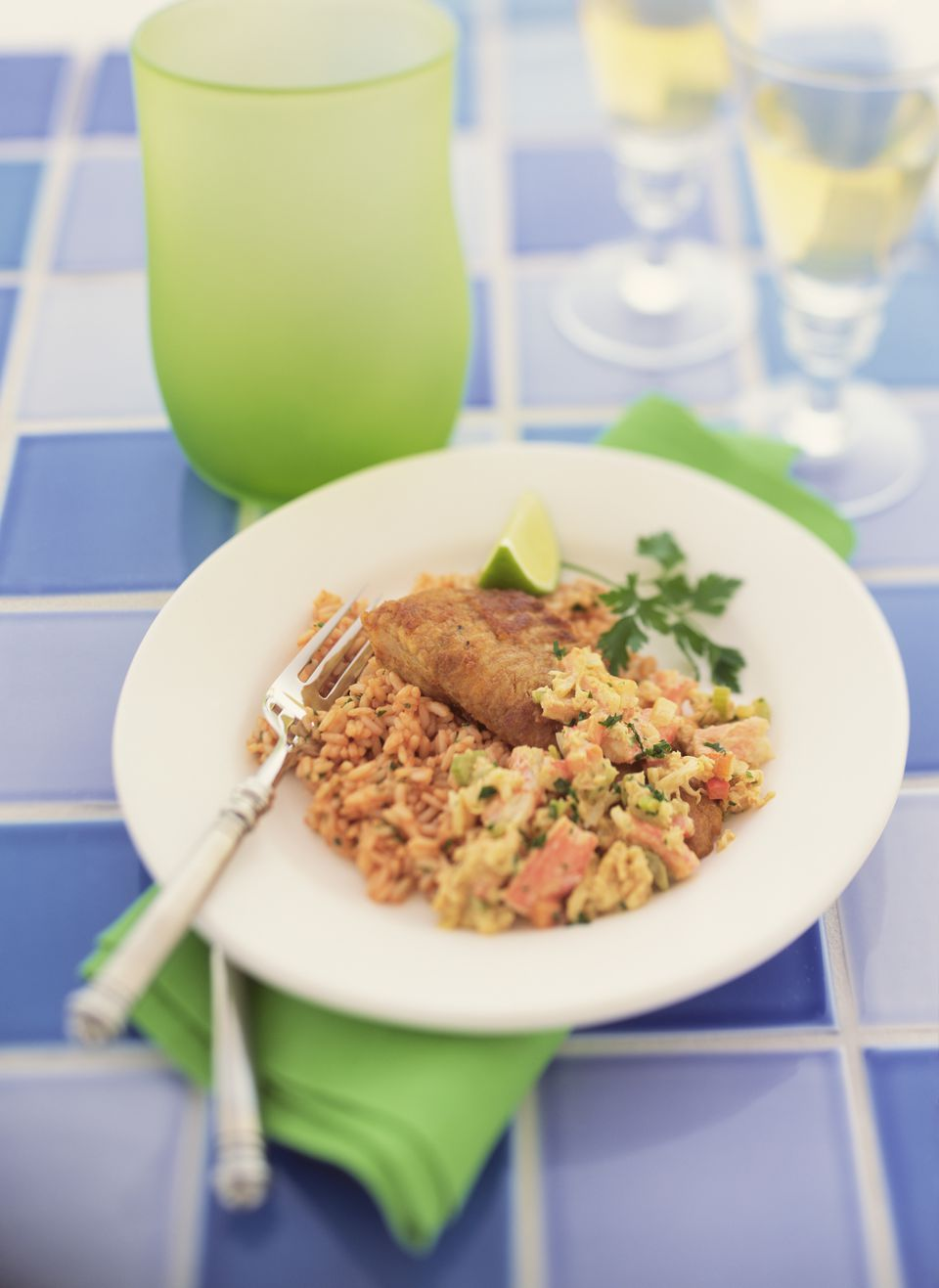 Creole rice with catfish and crab
