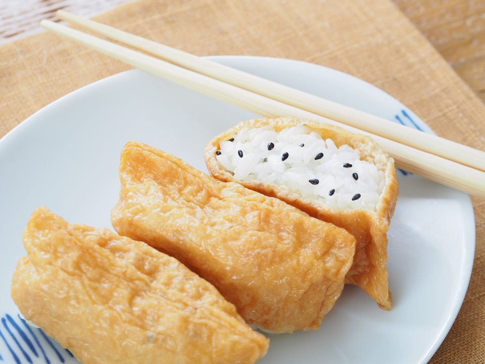 inari sushi wrapped in fried tofu pockets