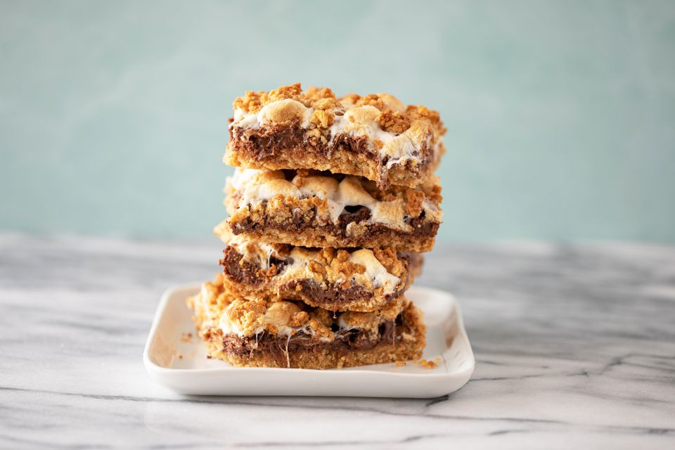 S'mores bars on a plate.