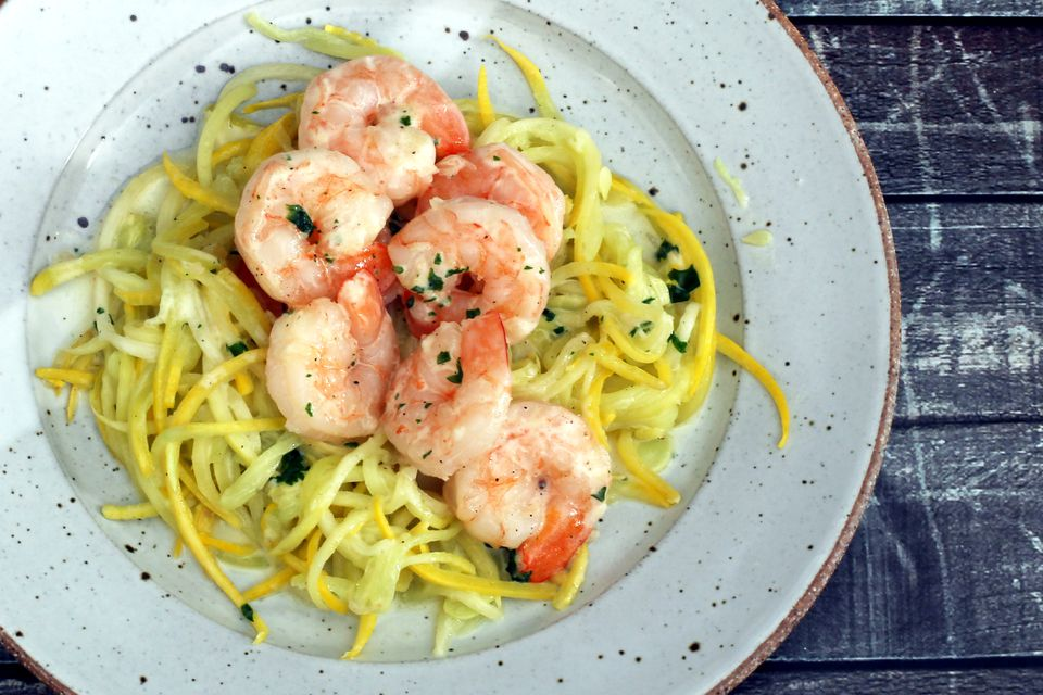 Creamy shrimp with spiralized squash noodles