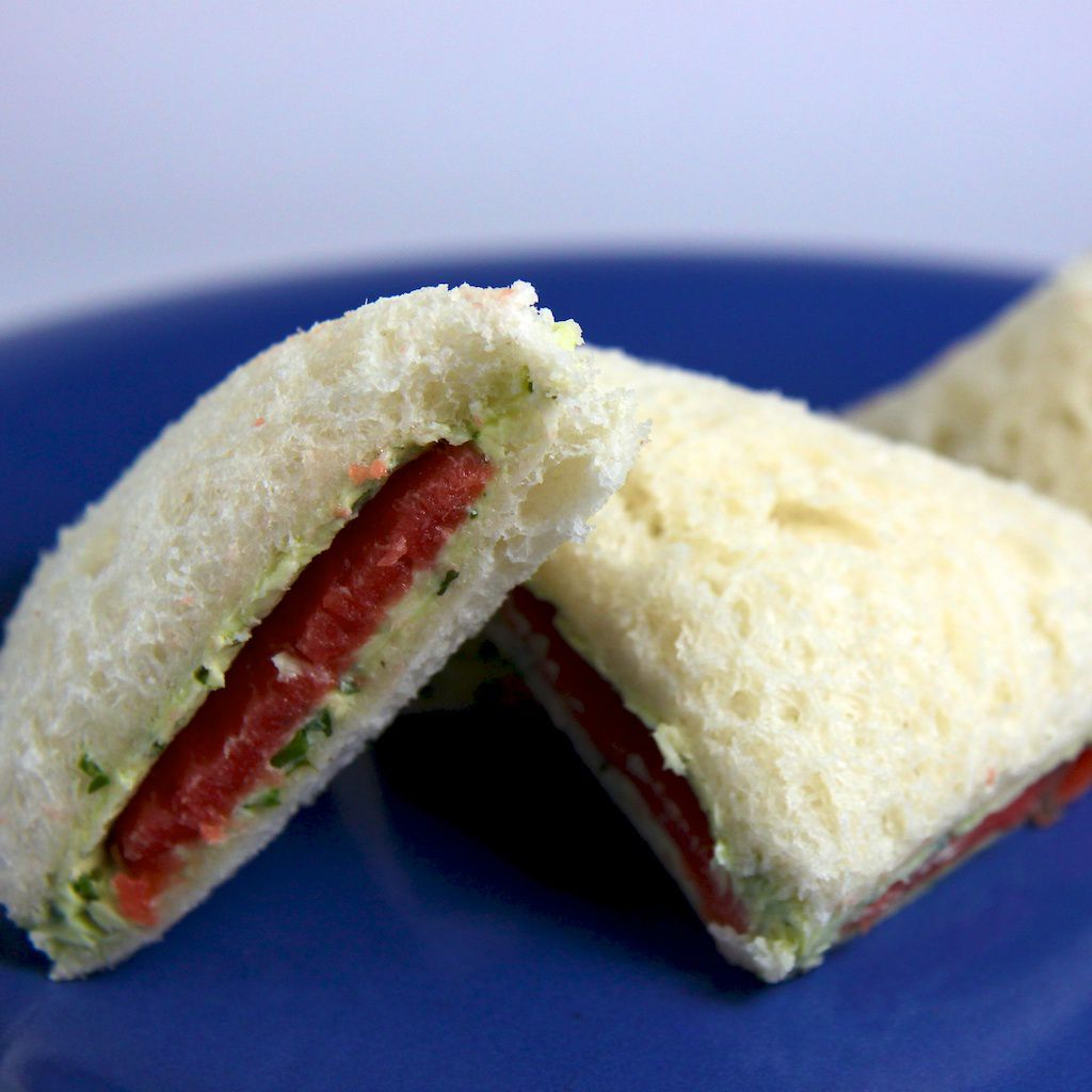An image of Smoked Salmon Herbed Butter Finger Sandwiches.